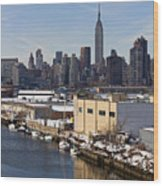 Manhattan From Greenpoint In Winter Wood Print