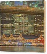 Manhattan Night Skyline I Wood Print