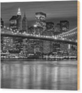 Manhattan Night Skyline Iv Wood Print