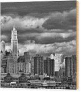 Manhattan Nyc Storm Clouds Cityview Wood Print