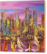 Manhattan Purple By Mark Kazav Wood Print