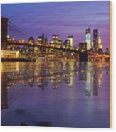 Manhattan Reflection Wood Print