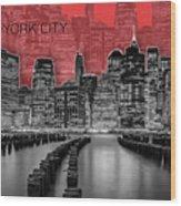 Manhattan Skyline - Graphic Art - Red Wood Print