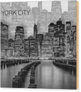 Manhattan Skyline - Graphic Art - White Wood Print