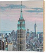 Manhattan Skyline Panoramic, New York City, Usa Wood Print