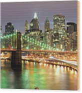 Manhattan Skyline Wood Print by Sean Pavone