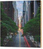 Manhattanhenge From 42nd Street, New York City Wood Print