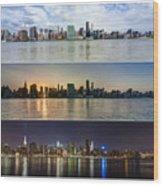 Manhattanhenge View From Across East River Wood Print by Sasha Karasev