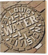 Manhole Cover In St Louis Wood Print