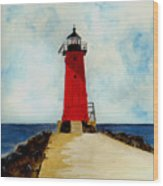 Manistique Breakwater Lighthouse Wood Print