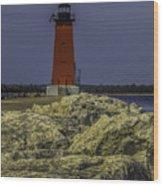 Manistique East Breakwater Light Wood Print