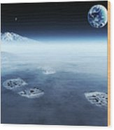 Mankind Exploring Space Wood Print