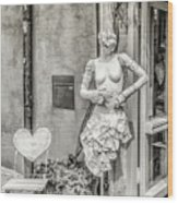 Mannequin On The Street Bw Wood Print