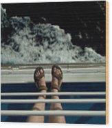 Mans Feet In Sandals Standing Wood Print