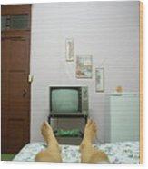 Man's Legs On A Bed In Front Of An Old Tv Wood Print
