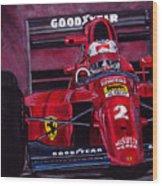 Mansell Ferrari 641 Wood Print