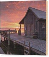 Manteo Waterfront Fisherman's Net House North Carolina Obx Wood Print