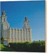 Manti Temple North Hill Wood Print