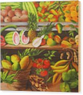 Manuel And His Fruit Stand Wood Print
