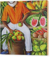 Manuel The Caribbean Fruit Vendor  Wood Print by Dominica Alcantara