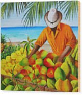 Manuel The Fruit Vendor At The Beach Wood Print