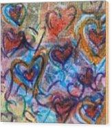 Many Hearts Wood Print