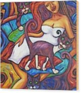 Maori Girl And Three Cats Wood Print