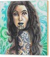 Maori Woman Wood Print