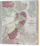 Map: Boston, 1865 Wood Print by Granger