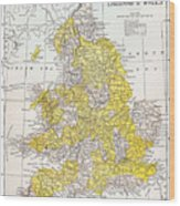 Map: England & Wales Wood Print