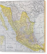 Map: Mexico Wood Print