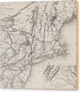 Map: Northeast U.s.a Wood Print