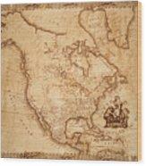 Map Of America 1800 Wood Print