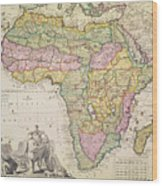 Map Of Africa Wood Print by Pieter Schenk