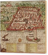 Map Of Algiers 1541 Wood Print