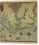 Map Of America 1590 Wood Print