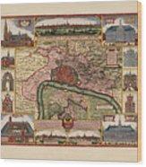 Map Of Antwerp 1675 Wood Print