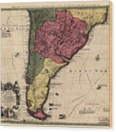 Map Of Argentina 1700 Wood Print