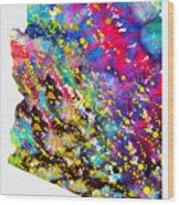 Map Of Arizona-colorful Wood Print