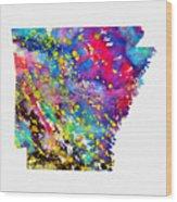 Map Of Arkansas-colorful Wood Print