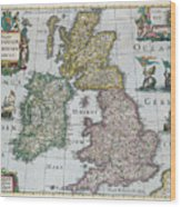 Map Of Britain Wood Print by English school