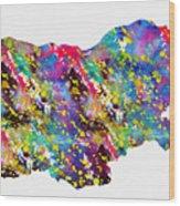 Map Of Bulgaria-colorful Wood Print
