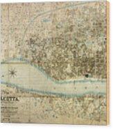 Map Of Calcutta 1857 Wood Print