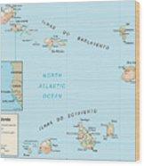 Map Of Cape Verde Wood Print