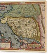 Map Of China 1590 Wood Print