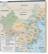 Map Of China Wood Print