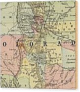 Map Of Colorado Wood Print