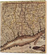 Map Of Connecticut 1795 Wood Print