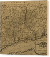 Map Of Connecticut 1797 Wood Print