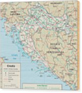 Map Of Croatia Wood Print